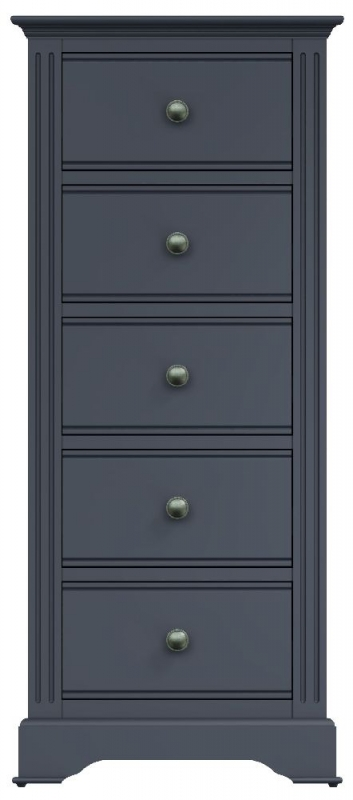 Ashby Midnight Grey Painted 5 Drawer Tall Chest