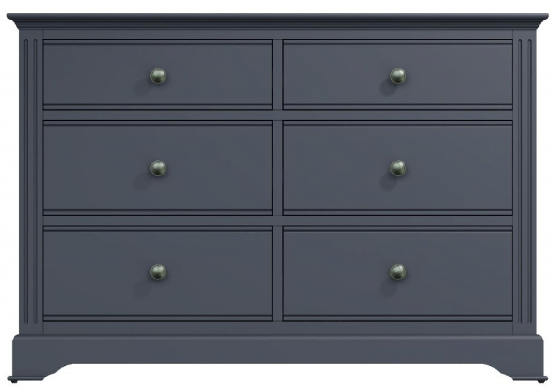 Ashby Midnight Grey Painted 6 Drawer Chest