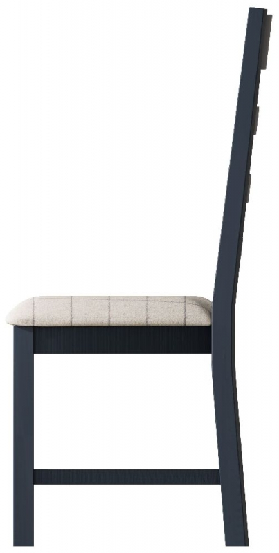 Ringwood Blue Painted Slatted Back Dining Chair with Natural Fabric Seat (Pair)