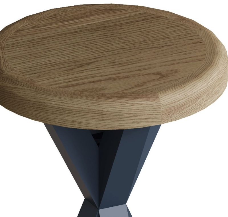 Ringwood Blue Painted Round Side Table - Oak Top