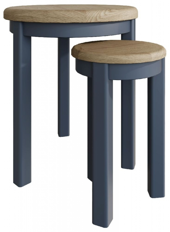 Ringwood Blue Painted Round Nest of Tables - Oak Top