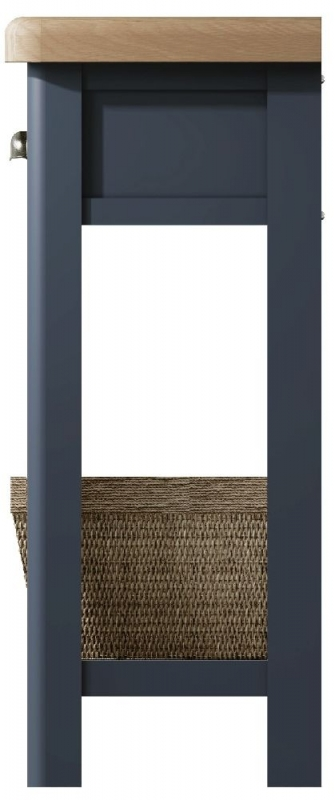Ringwood Blue Painted Console Table - Oak Top
