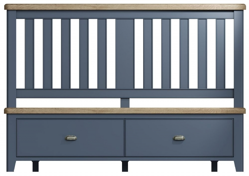 Ringwood Blue Painted Storage Bed with Wooden Headboard