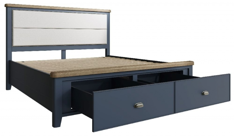 Ringwood Blue Painted Storage Bed with Fabric Headboard