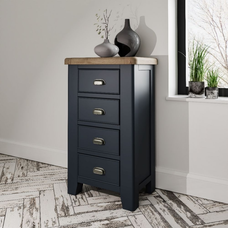 Ringwood Blue Painted 4 Drawer Chest - Oak Top