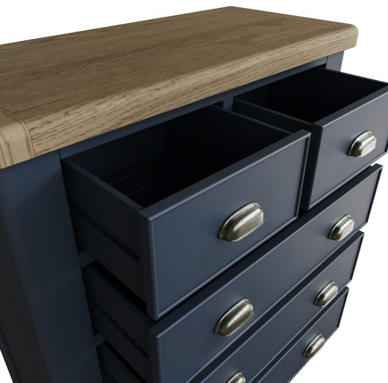 Ringwood Blue Painted 2+3 Drawer Chest - Oak Top