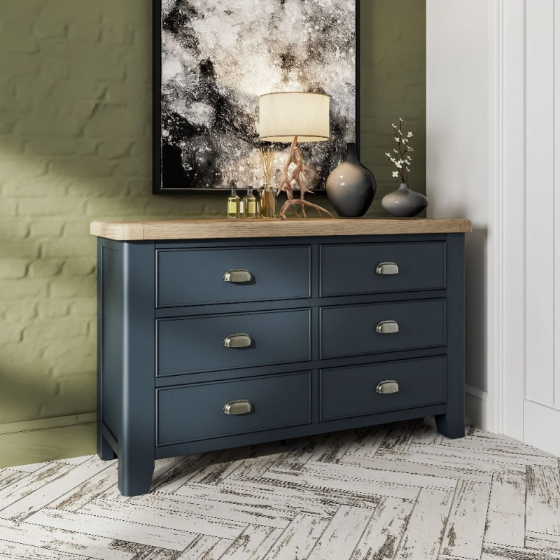 Ringwood Blue Painted 6 Drawer Chest - Oak Top