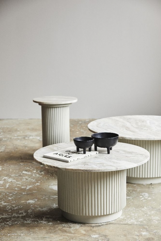 NORDAL Erie White Marble Round Side Table