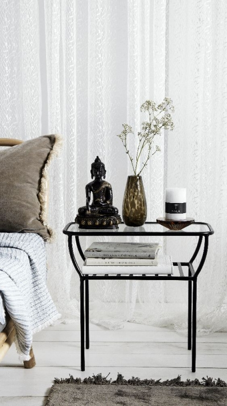 NORDAL Chic Black and Glass Side Table