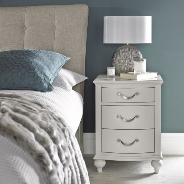 Bentley Designs Montreux Soft Grey Bedside Cabinet - 3 Drawer