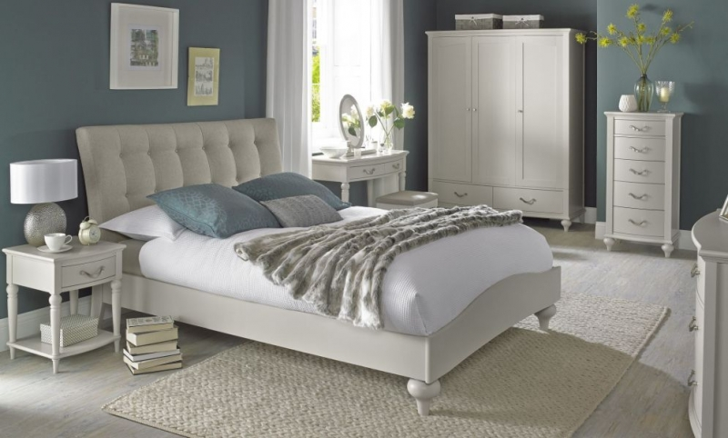 Bentley Designs Montreux Soft Grey Vertical Stitch Upholstered Bed