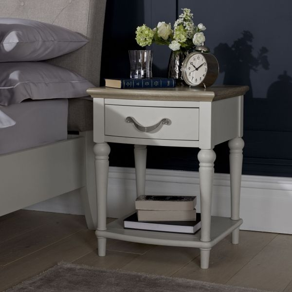 Bentley Designs Montreux Grey Washed Oak and Soft Grey Bedside Cabinet - 1 Drawer
