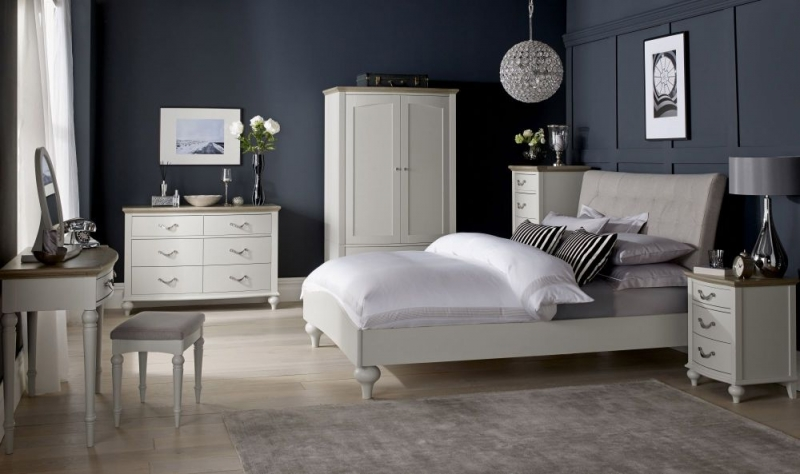Bentley Designs Montreux Grey Washed Oak and Soft Grey Bedside Cabinet - 3 Drawer