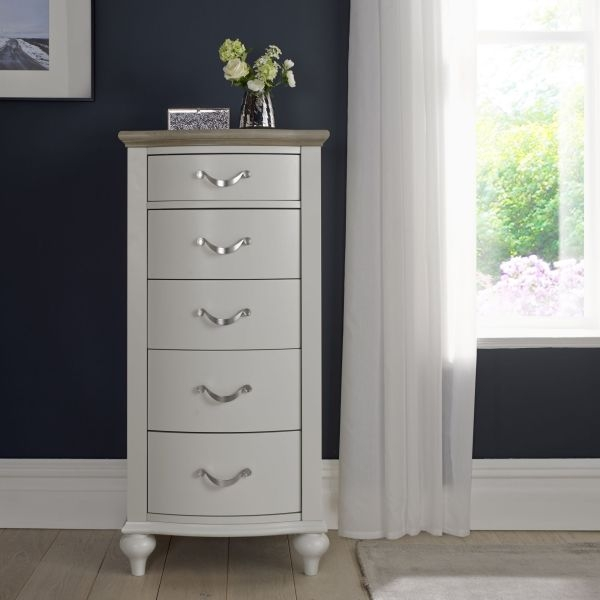 Bentley Designs Montreux Grey Washed Oak and Soft Grey Chest of Drawer - 5 Drawer Tall