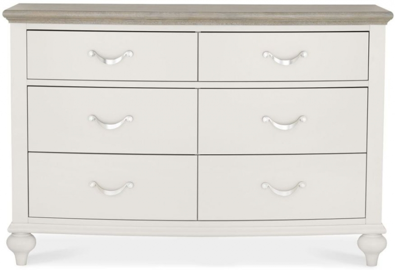 Bentley Designs Montreux Grey Washed Oak and Soft Grey Chest of Drawer - 6 Drawer Wide