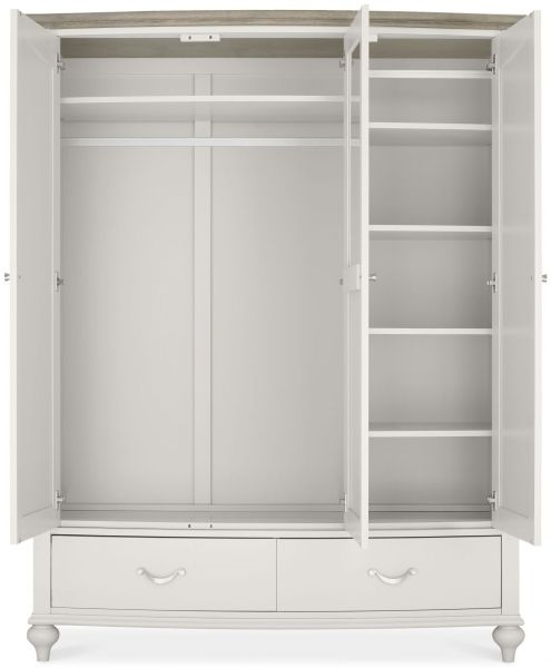 Bentley Designs Montreux Grey Washed Oak and Soft Grey Wardrobe - Triple