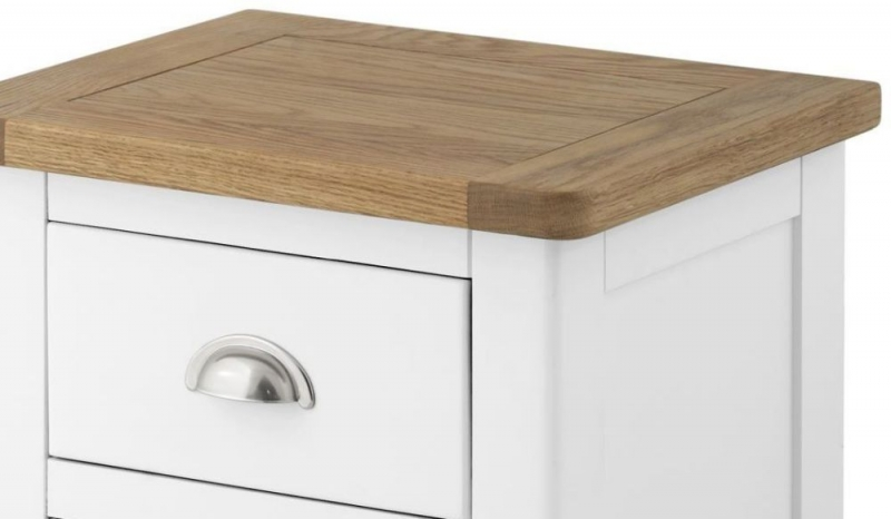 Portland White Painted 3 Drawer Bedside Cabinet