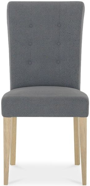 Bentley Designs Chartreuse Aged Oak Upholstered Dining Chair - Slate Blue (Pair)