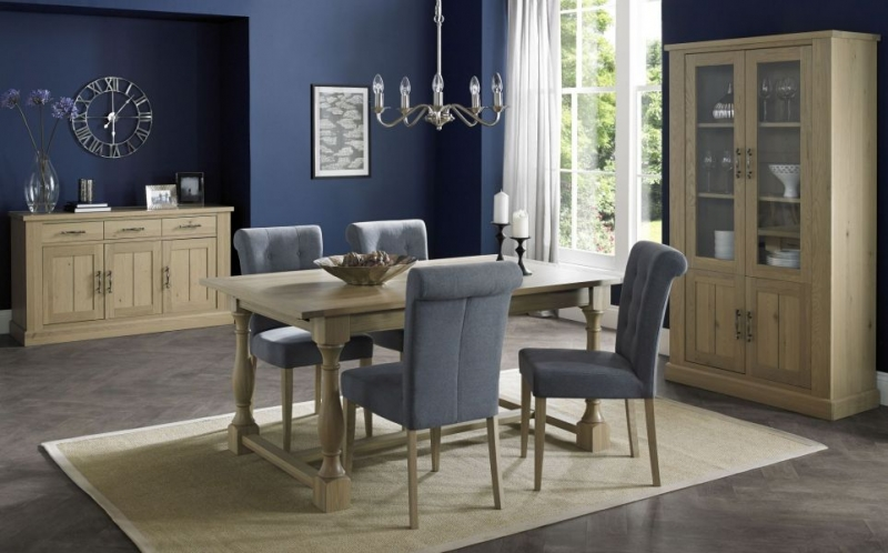 Clearance Bentley Designs Chartreuse Aged Oak Upholstered Dining Chair - Slate Blue (Pair) -3011