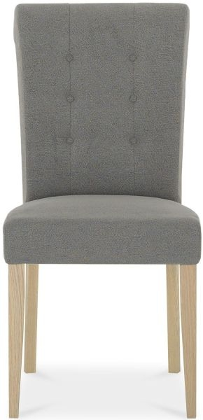 Bentley Designs Chartreuse Aged Oak Upholstered Dining Chair - Smoke Grey (Pair)