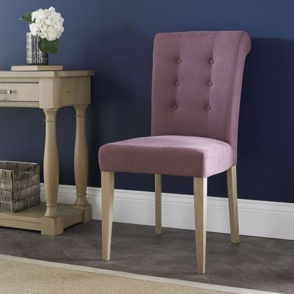 Bentley Designs Chartreuse Aged Oak Upholstered Dining Chair - Mulberry (Pair)