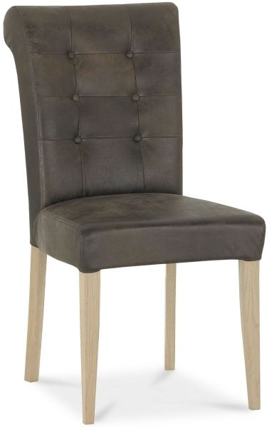 Bentley Designs Chartreuse Aged Oak Upholstered Dining Chair - Bonded Leather (Pair)