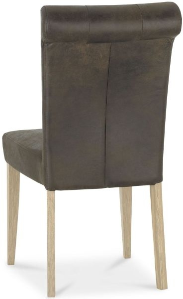 Bentley Designs Chartreuse Aged Oak Upholstered Dining Chair - Distressed Brown Bonded Leather (Pair)