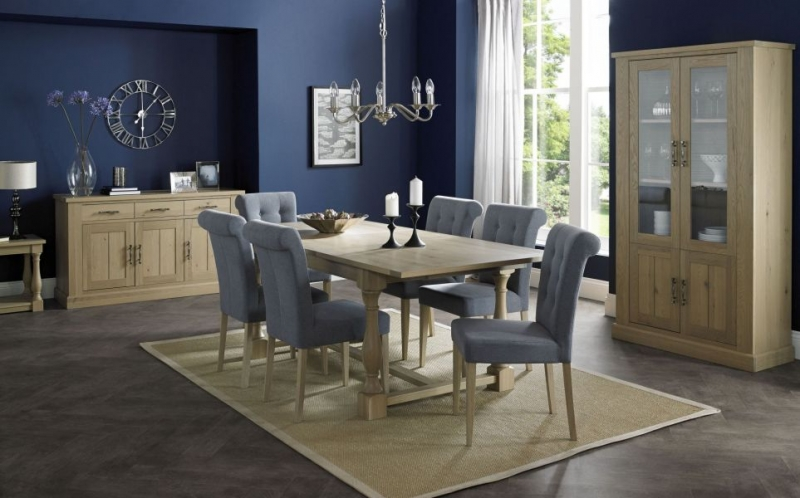 Bentley Designs Chartreuse Aged Oak Dining Set - 4-10 Extending with Slate Blue Upholstered Chairs