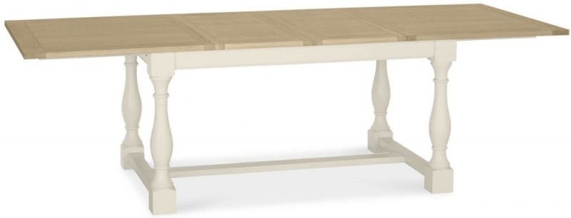 Bentley Designs Chartreuse Aged Oak and Antique White Dining Table - 4-10 Extending