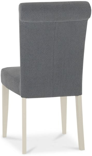 Bentley Designs Chartreuse Aged Oak and Antique White Upholstered Chair - Slate Blue (Pair)