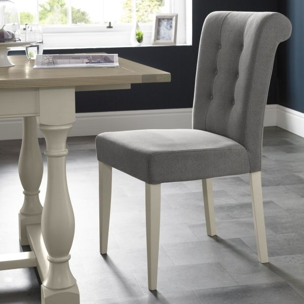 Bentley Designs Chartreuse Aged Oak and Antique White Upholstered Chair - Smoke Grey (Pair)