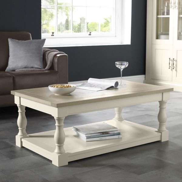 Bentley Designs Chartreuse Aged Oak and Antique White Coffee Table