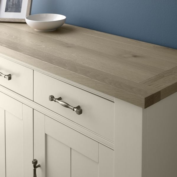 Bentley Designs Chartreuse Aged Oak and Antique White Sideboard - 3 Door