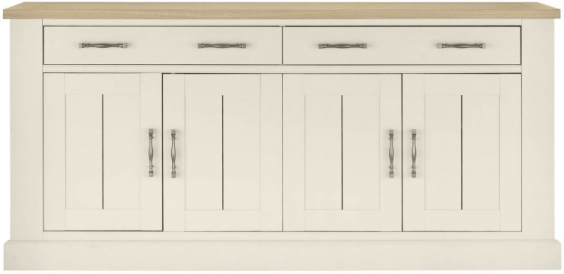 Bentley Designs Chartreuse Aged Oak and Antique White Sideboard - 4 Door