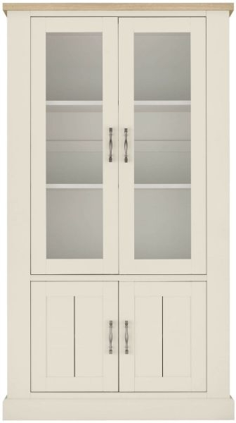 Bentley Designs Chartreuse Aged Oak and Antique White Display Cabinet