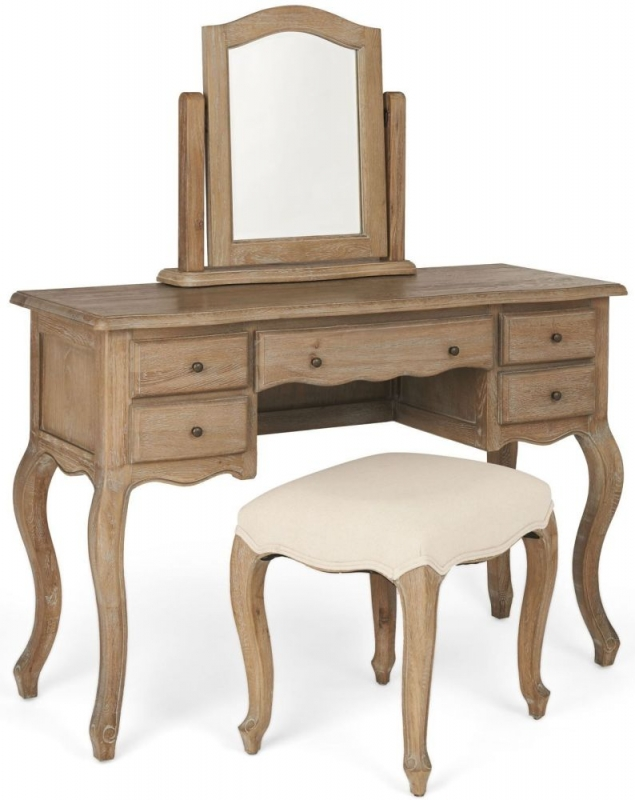 Camille Limed Oak Dressing Table - Curved