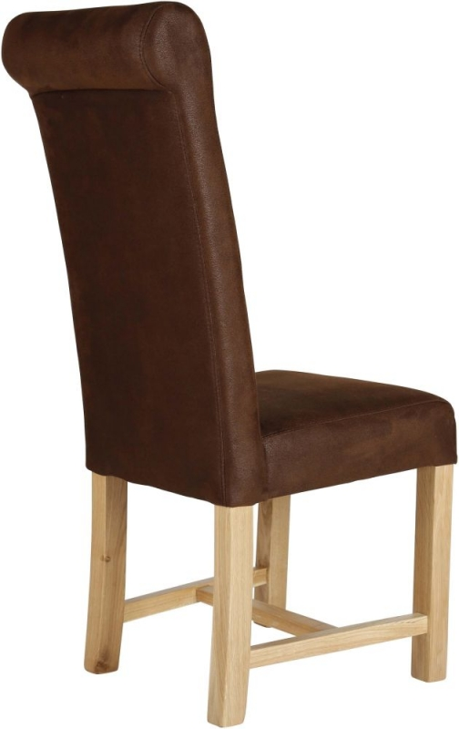 Soho Scroll Back Dining Chair with Oak Natural Leg (Pair)