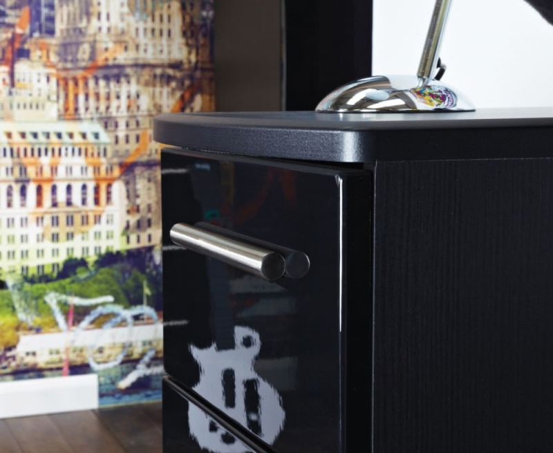 Knightsbridge High Gloss Black 3 Drawer Chest