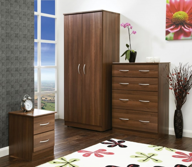 Avon Noche Walnut Wardrobe - 2ft 6in Plain