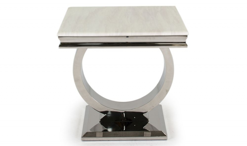 Vida Living Arianna Lamp Table - Cream Marble and Chrome