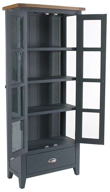 Vancouver Expressions Down Pipe Grey 2 Door 1 Drawer Glazed Display Cabinet