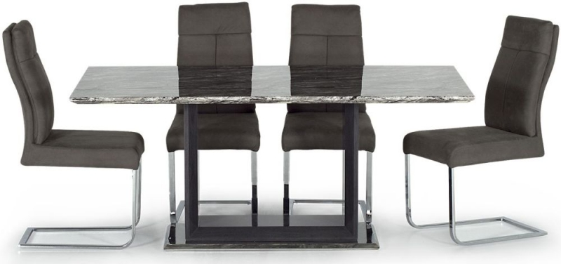Vida Living Donatella Grey Fabric and Stainlees Steel Chrome Dining Chair (Pair)