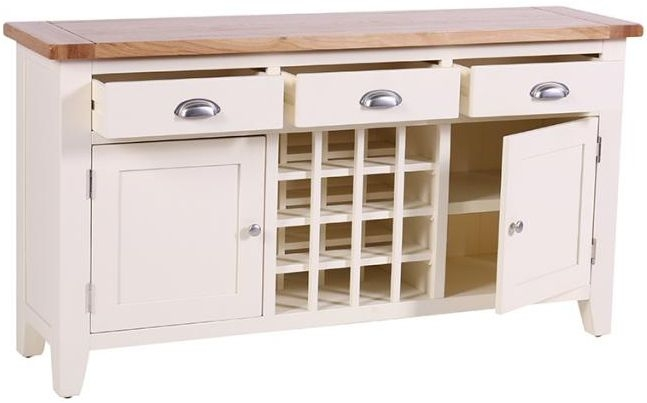 Vancouver Expressions Linen Wine Table - 3 Drawer 2 Door