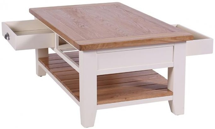 Vancouver Expressions Linen Coffee Table - Rectangular with 2 Drawers and 1 Shelf
