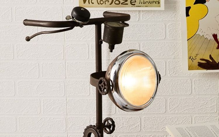 Indian Hub Iron Cycle Floor Lamp
