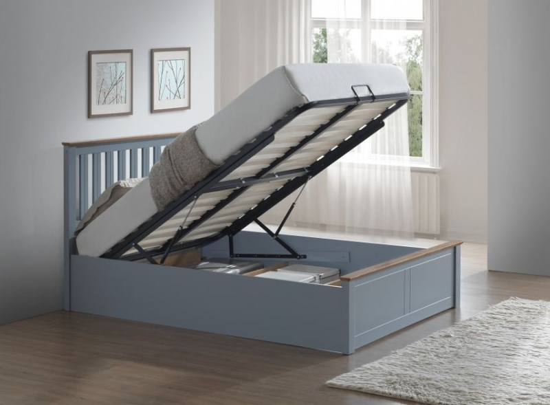 Grey Wooden Double Bed Part - 41: Birlea Phoenix Stone Grey Ottoman Bed