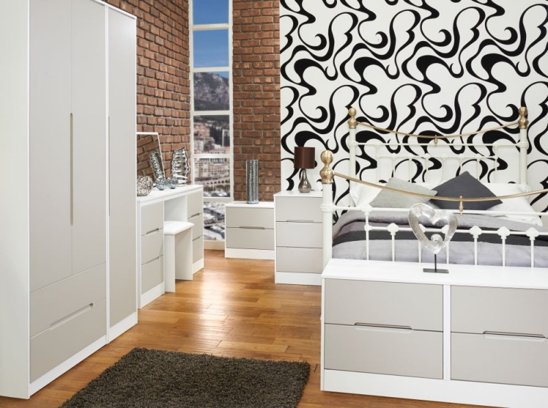 Monaco Kaschmir and White Triple Wardrobe - Tall with 2 Drawer