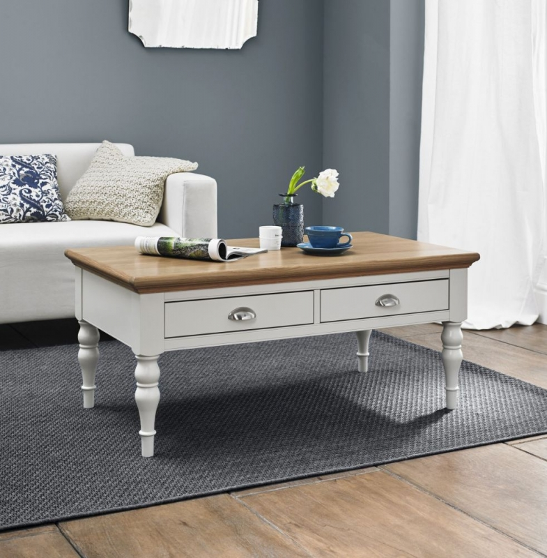 Bentley Designs Hampstead Soft Grey And Oak Coffee Table With Turned Legs