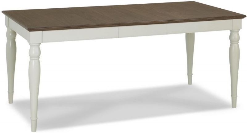 Bentley Designs Hampstead Soft Grey and Walnut Rectangular Extending Dining Table - 140cm-180cm