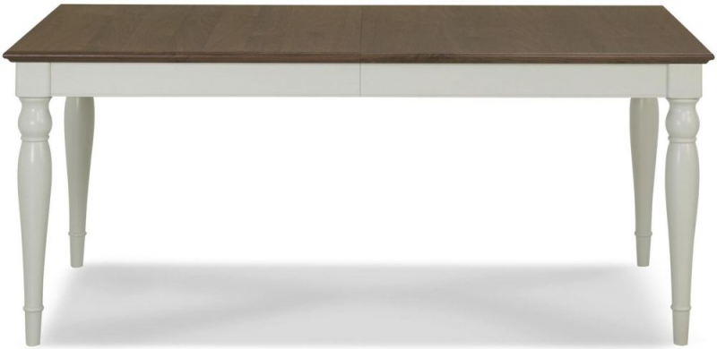 Bentley Designs Hampstead Soft Grey and Walnut Rectangular Extending Dining Table - 180cm-220cm